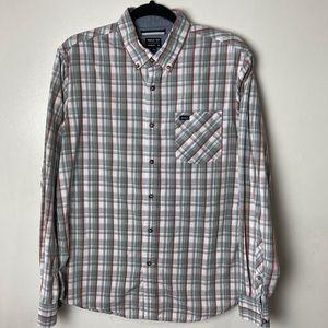 RVCA gray plaid button down shirt. Medium